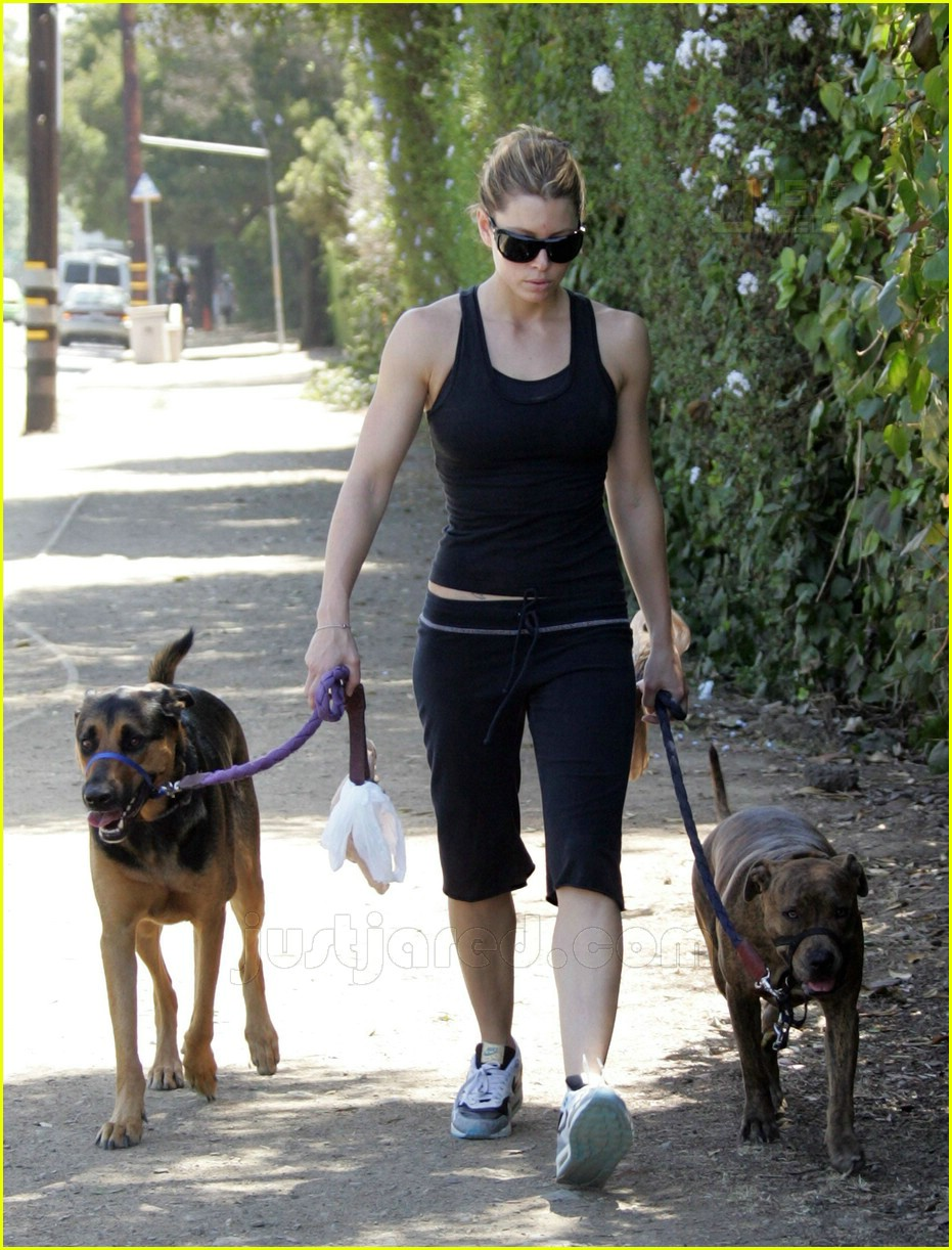 09 jessica biel walking dogs