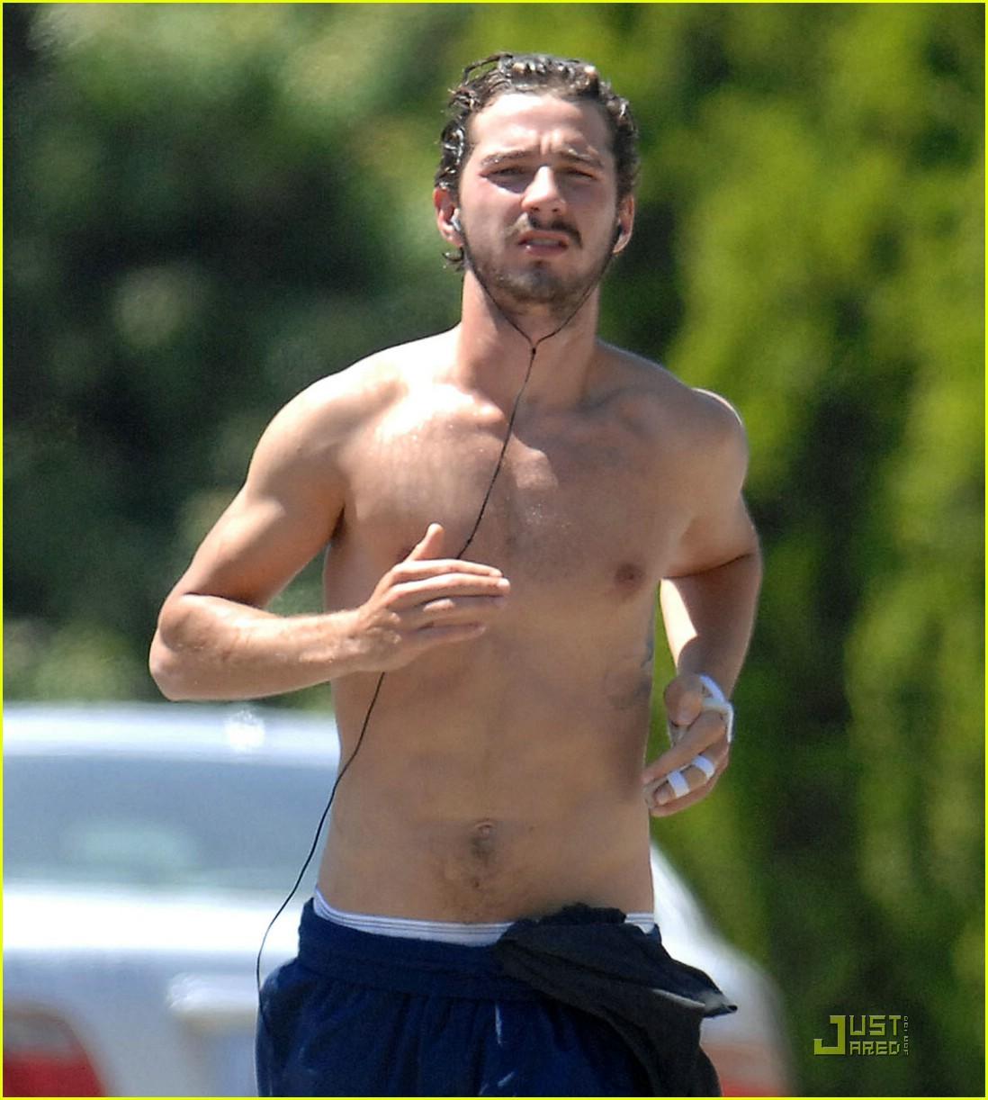 shia labeouf shirtless running 062053591