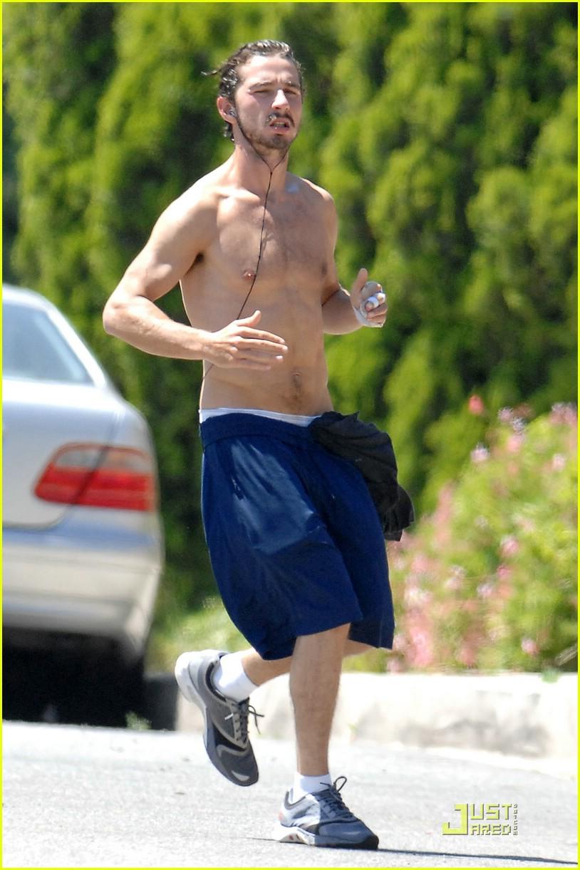 shia labeouf shirtless running 092053621
