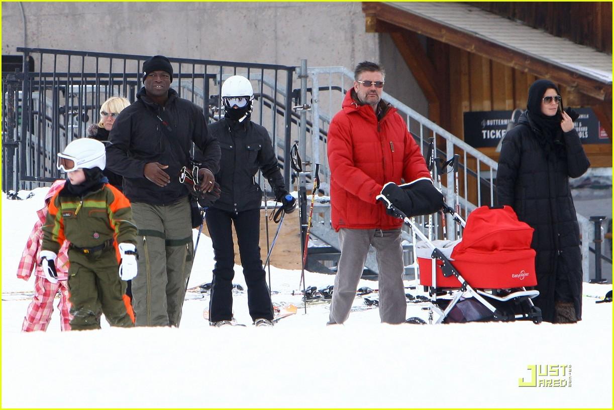 heidi klum seal snowboard lessons 03