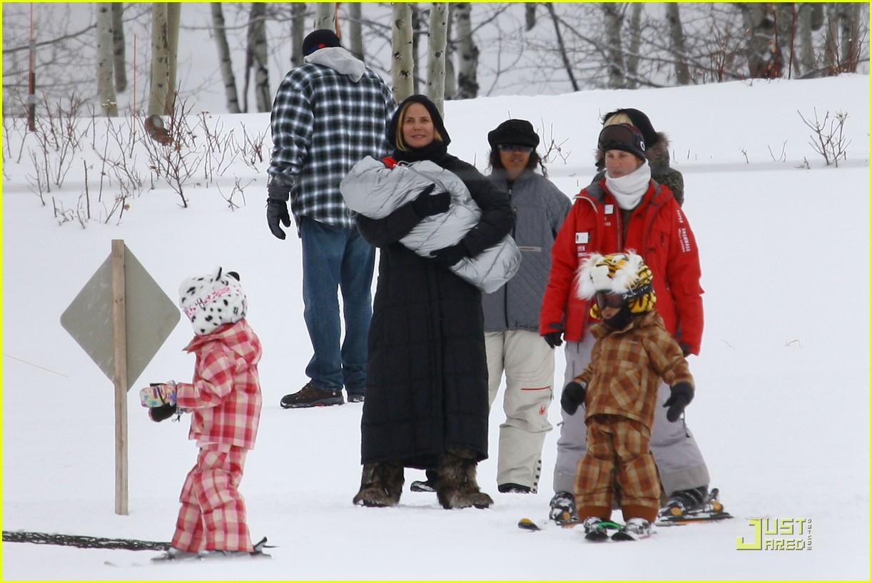 heidi klum seal snowboard lessons 06