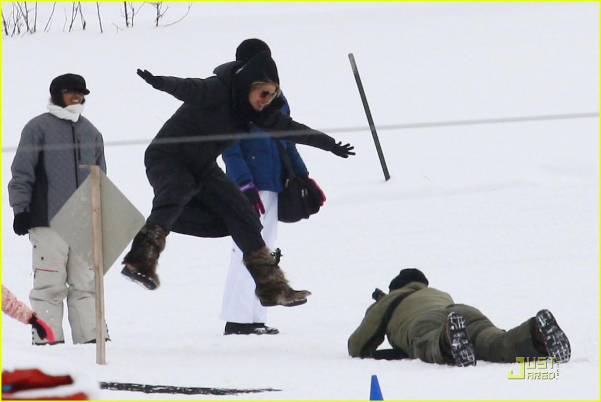 heidi klum seal snowboard lessons 08