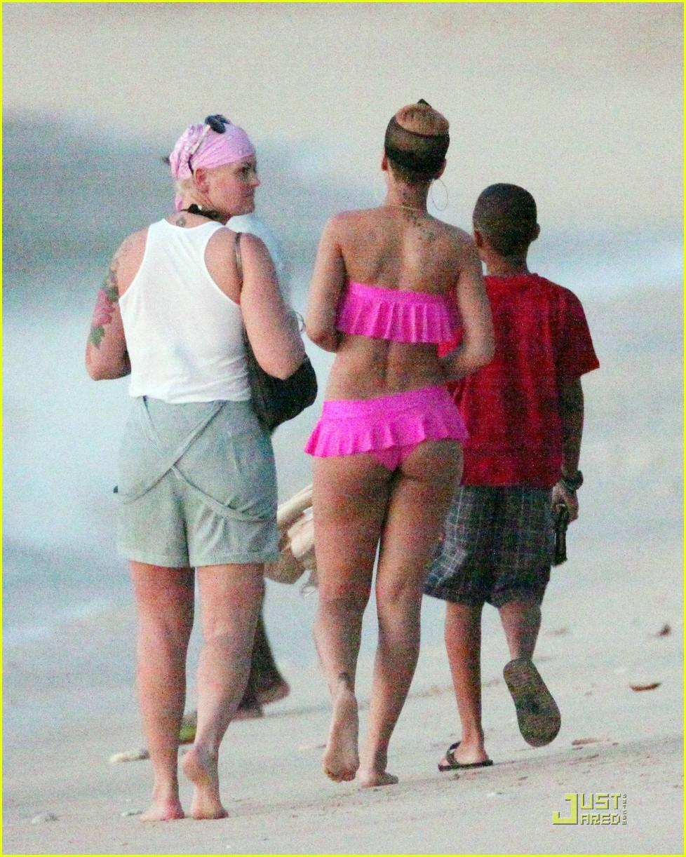 rihanna ruffled pink bikini barbados 162404213