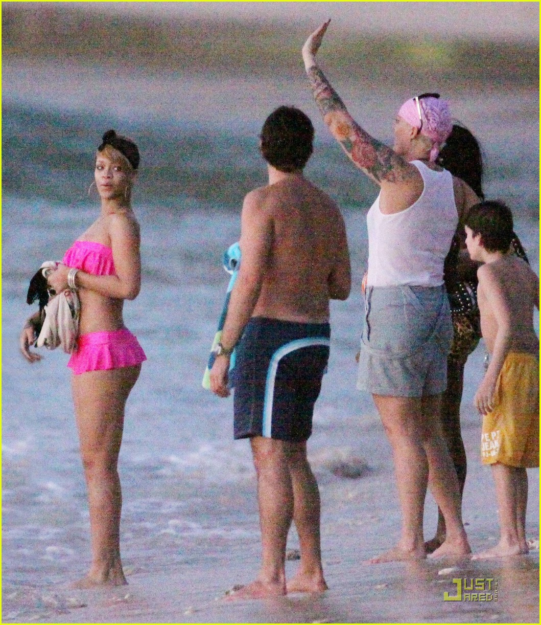 rihanna ruffled pink bikini barbados 252404222