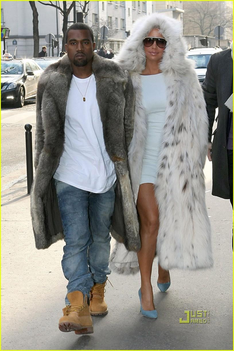kanye west amber rose fur coats louis vuitton paris fashion week 032410612