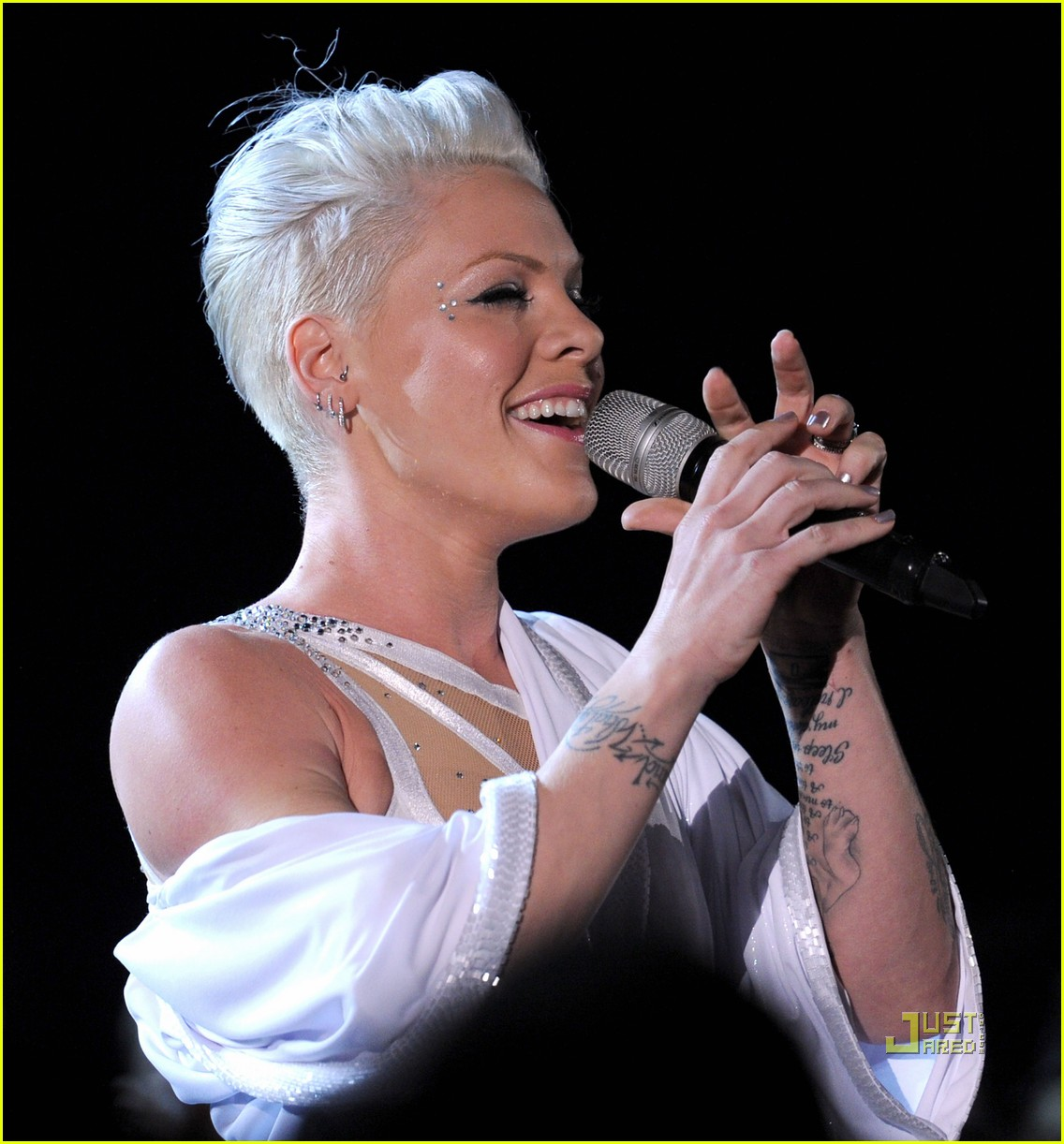 pink naked grammys performance 072413187