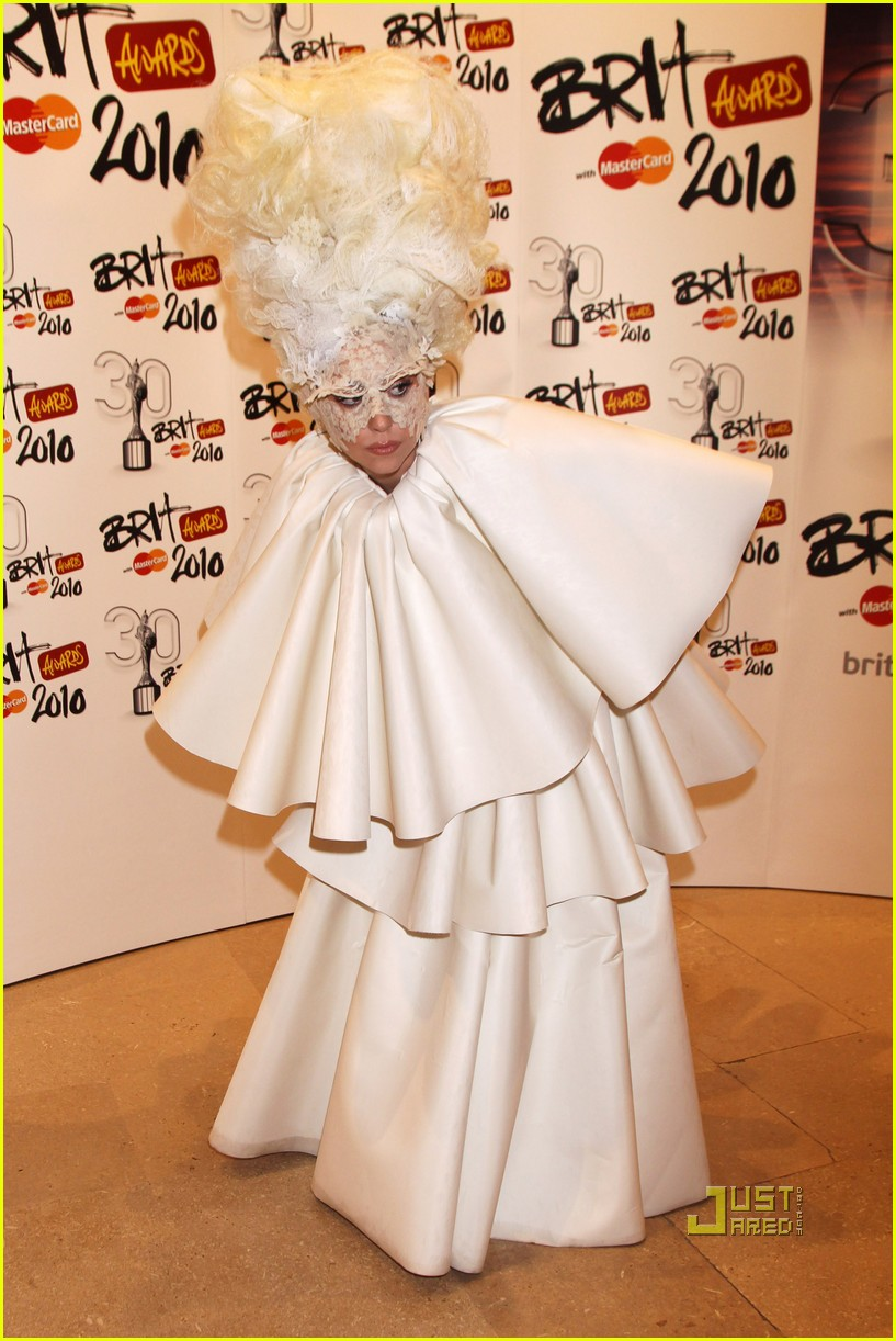 lady gaga brit awards white tier dress 022428116