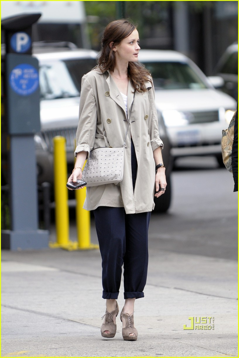 alexis bledel lunch friend nyc trenchcoat 082453452