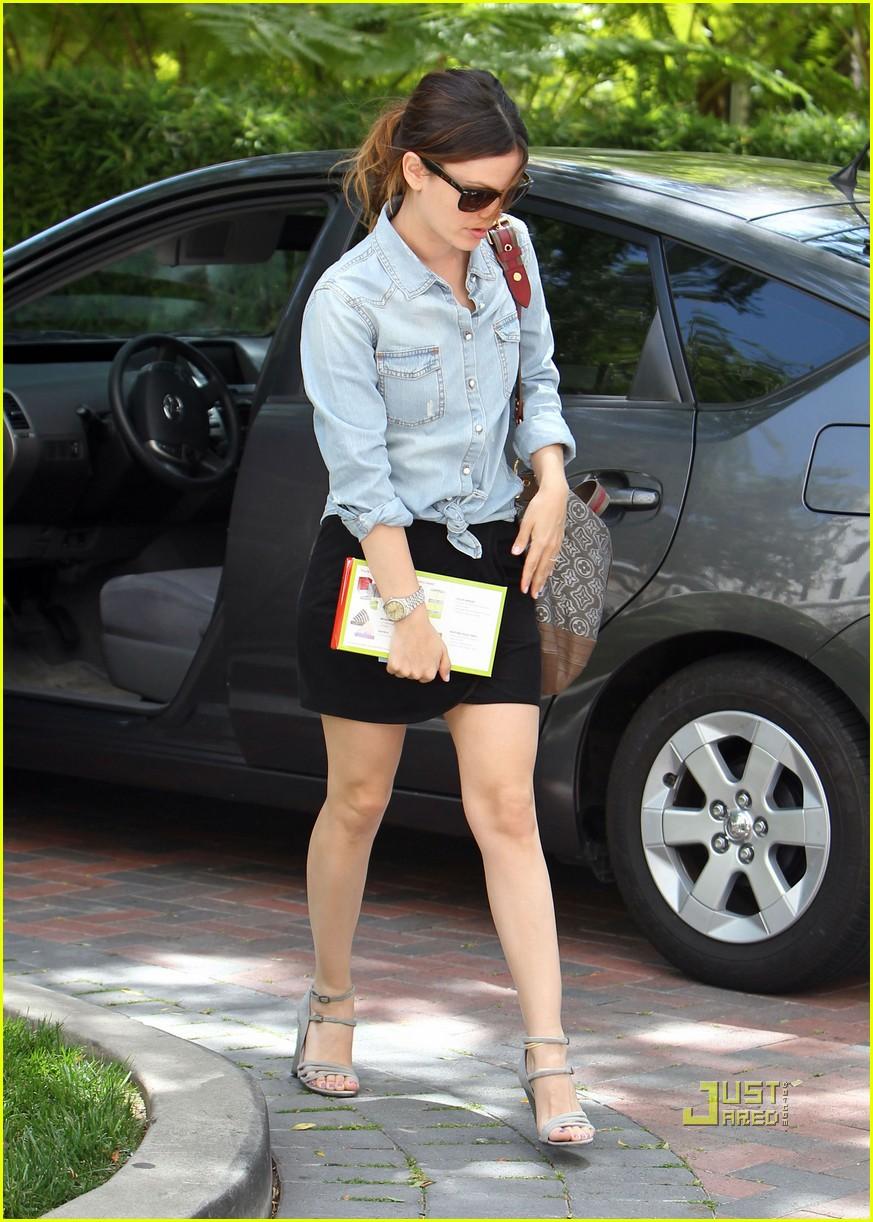 Full Sized Photo Of Rachel Bilson Denim Shirt Wedge Heels