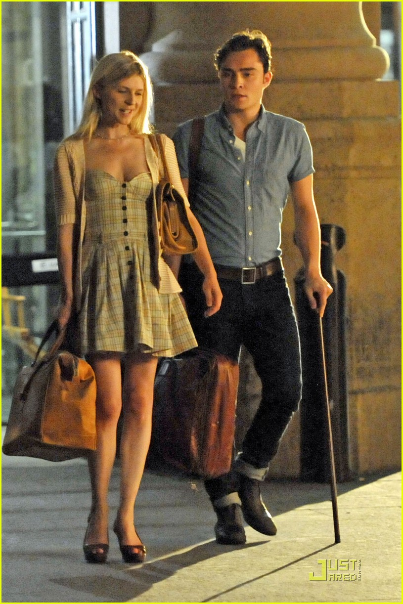 ed westwick  u0026 clemence poesy  late night lip lock  photo