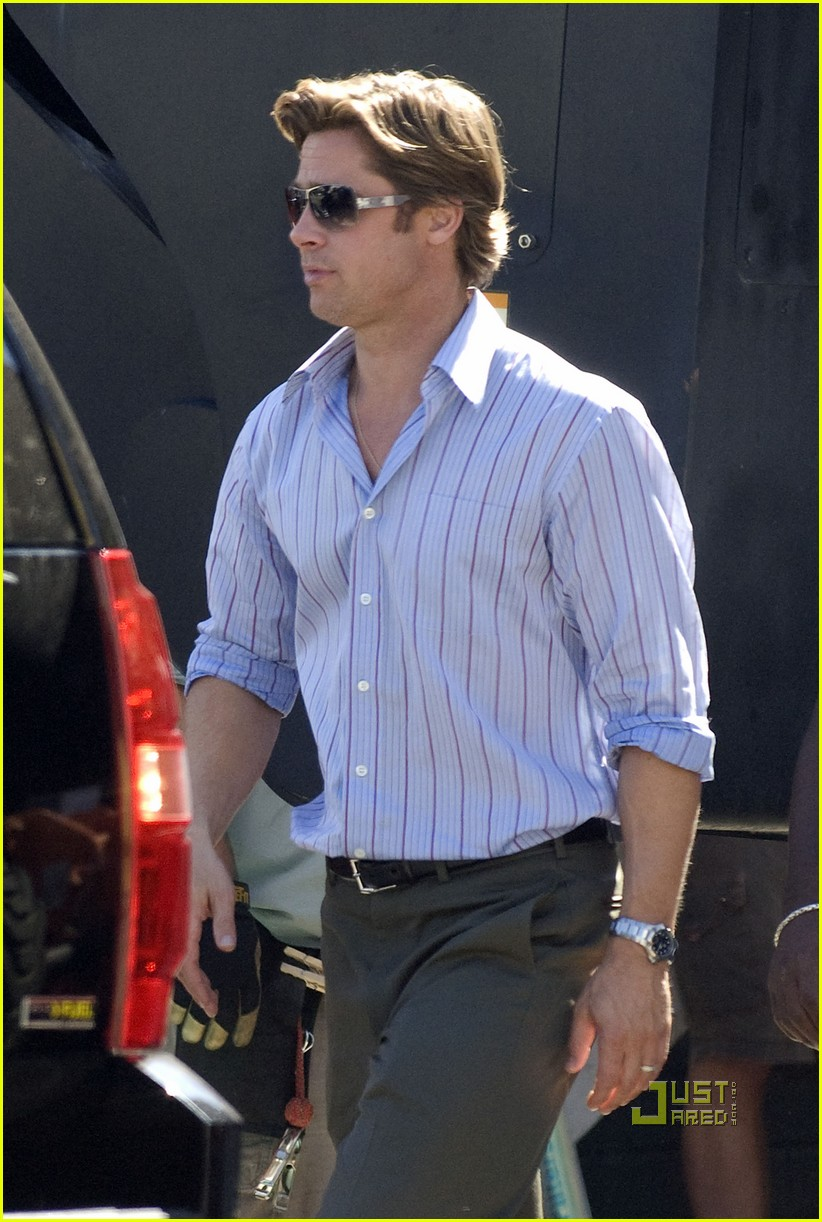 brad pitt blue buttondown moneyball set 062483782