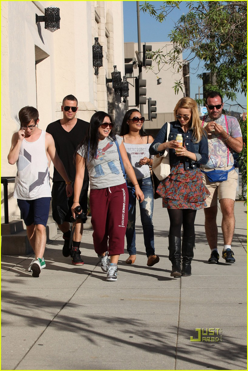 dianna agron lea michele little doms dinner with cast 122492971
