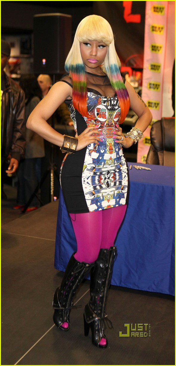 nicki minaj rainbow hair at album signing 102498207