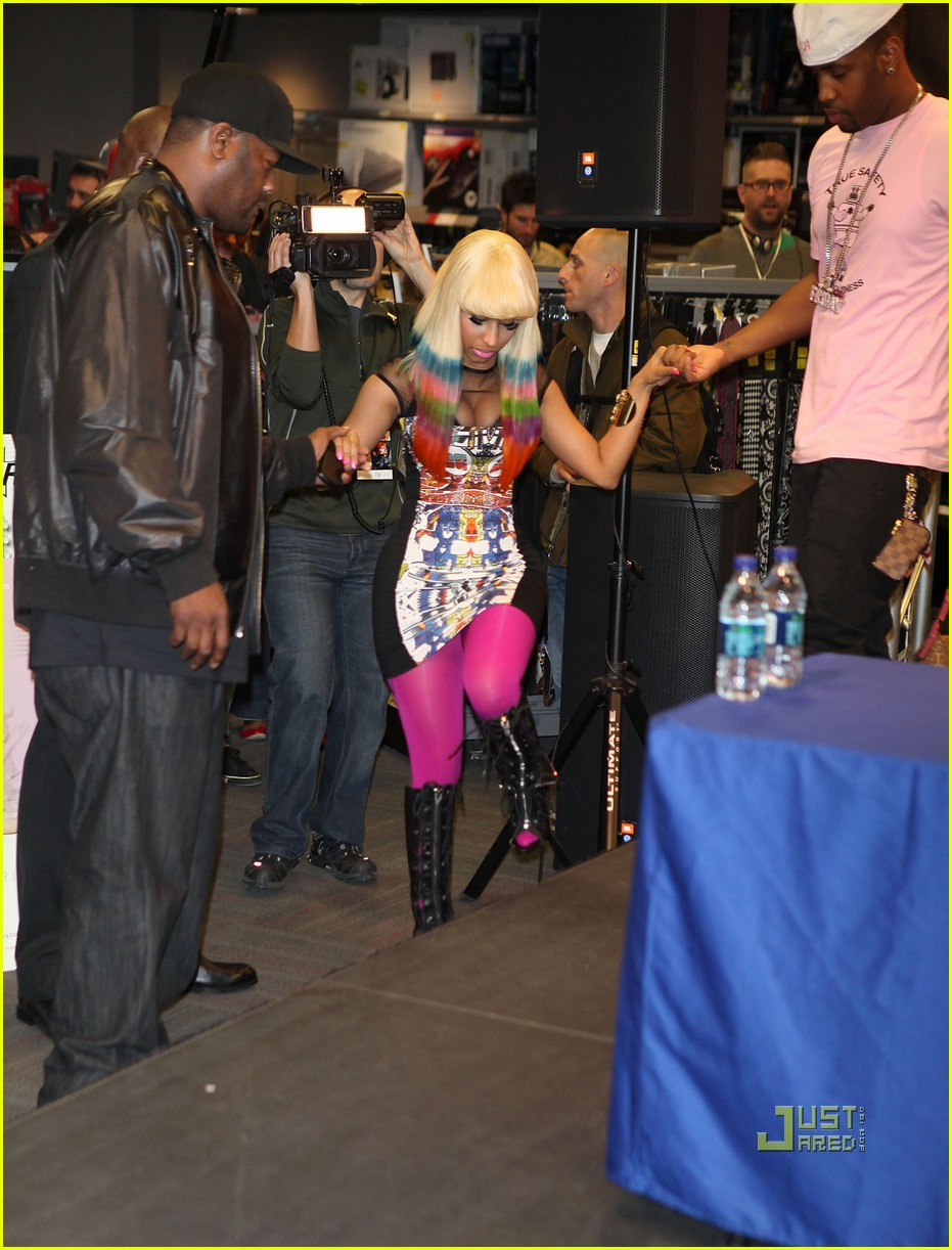nicki minaj rainbow hair at album signing 112498208
