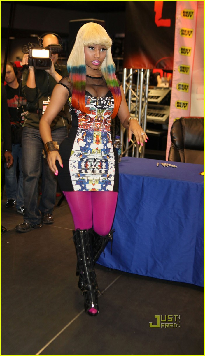 nicki minaj rainbow hair at album signing 122498209