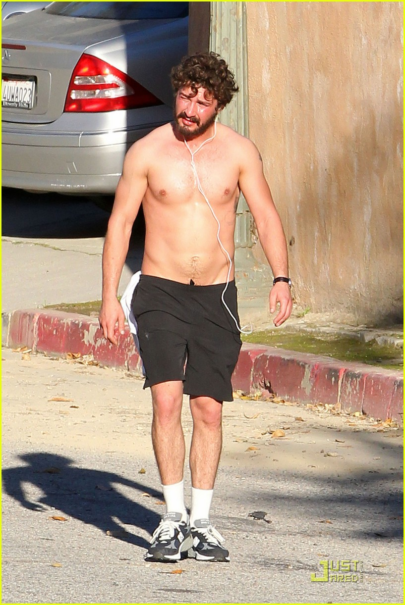 shia labeouf shirtless run 132512786
