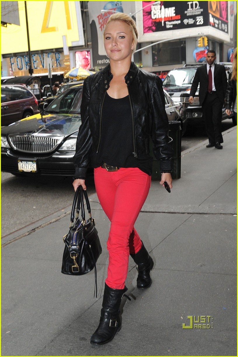 Hayden Panettiere: Bright Red Pants in Times Square ...