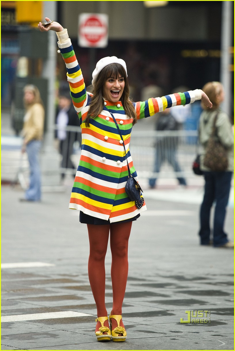 lea michele stripes nyc glee 012538129