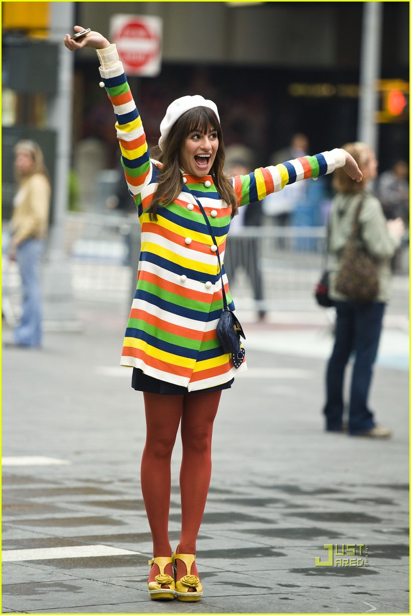 lea michele stripes nyc glee 03