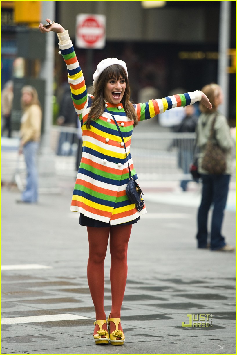 lea michele stripes nyc glee 07