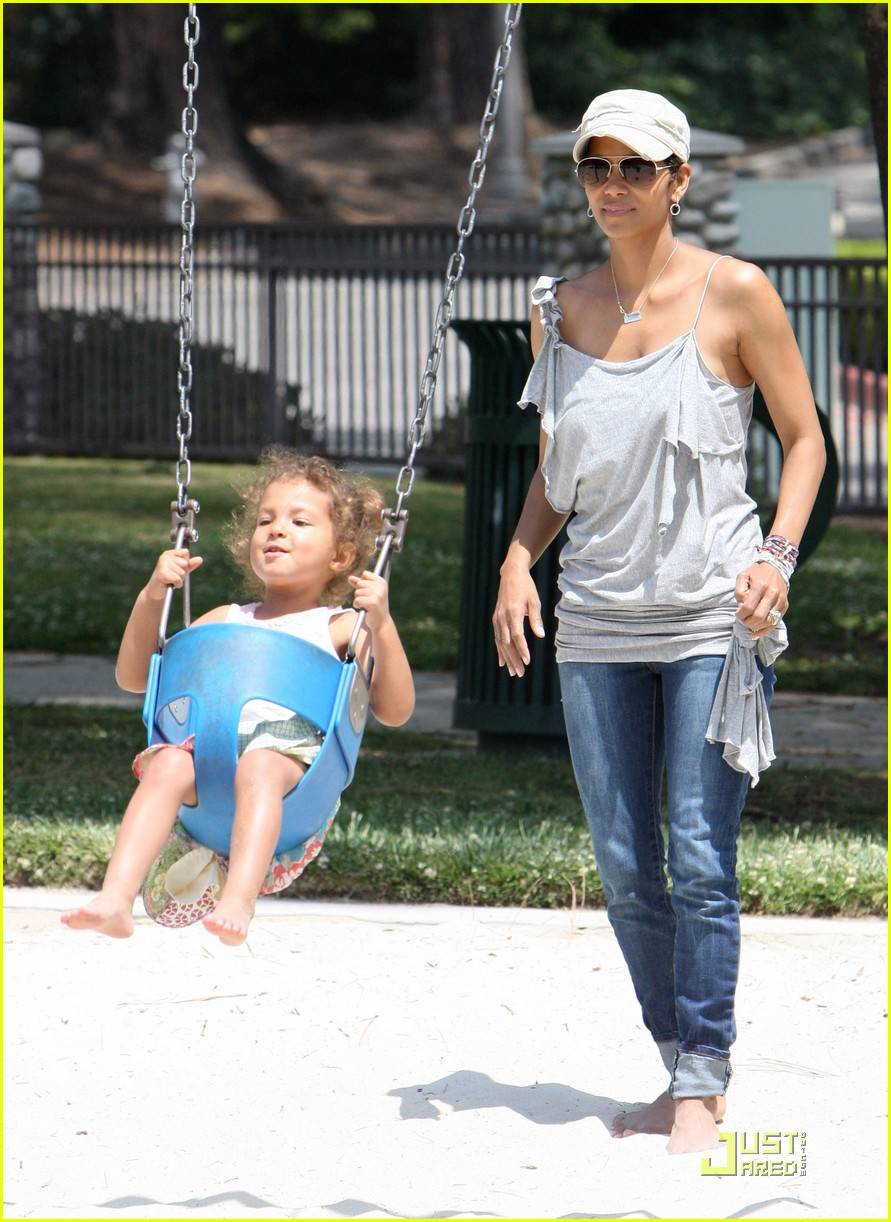 halle berry down the slide with nahla 082541598
