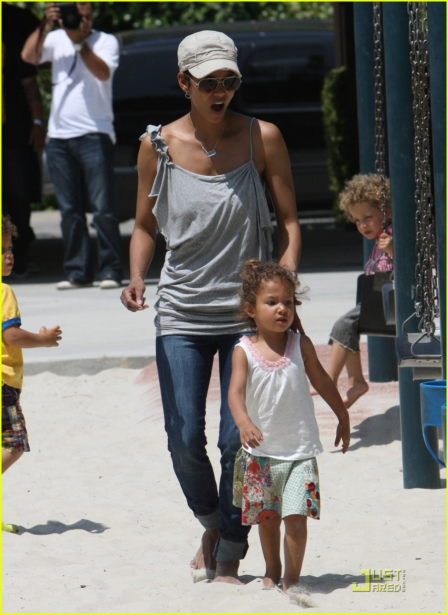 halle berry down the slide with nahla 122541602
