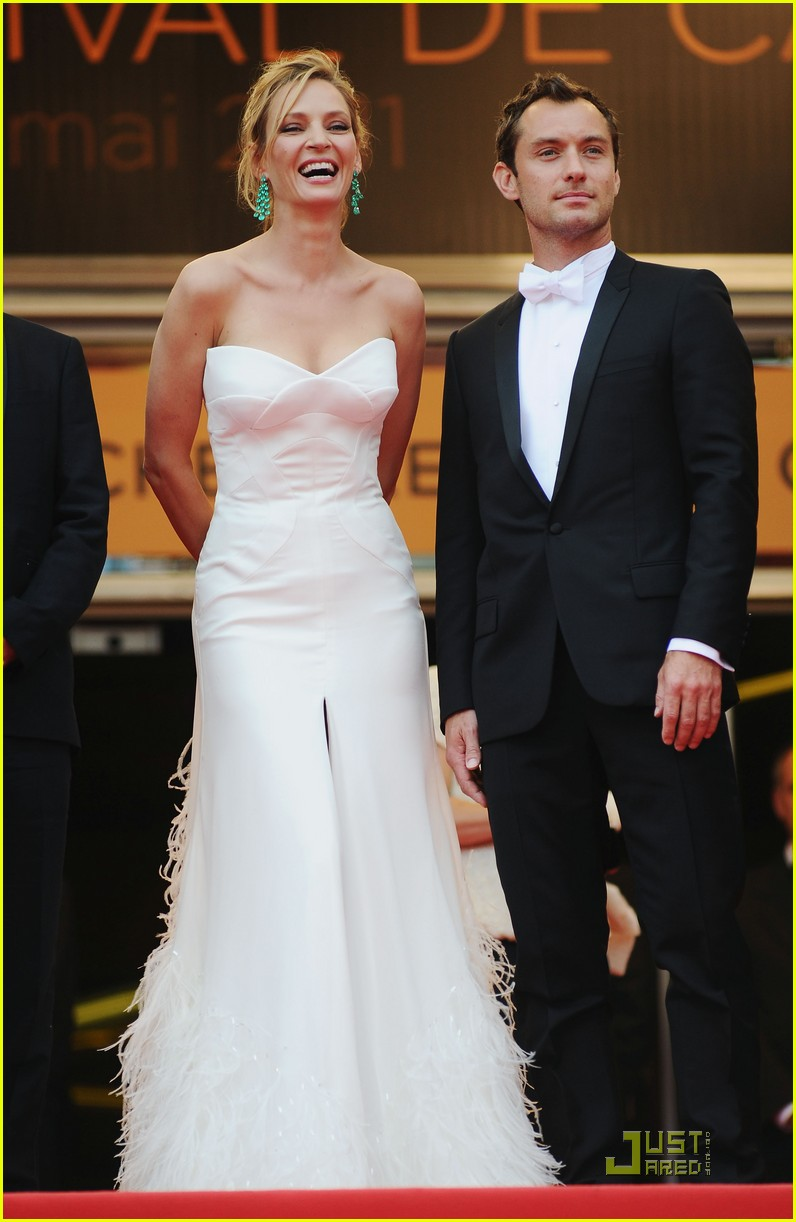 jude law cannes opening ceremony with uma thurman 072543006