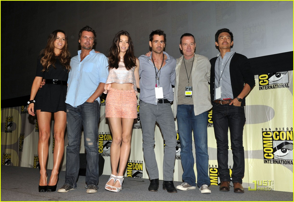 colin farrell jessica biel total recall at comic con 01