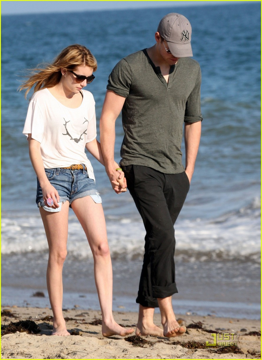 chord overstreet emma roberts holding hands on the beach 052563565
