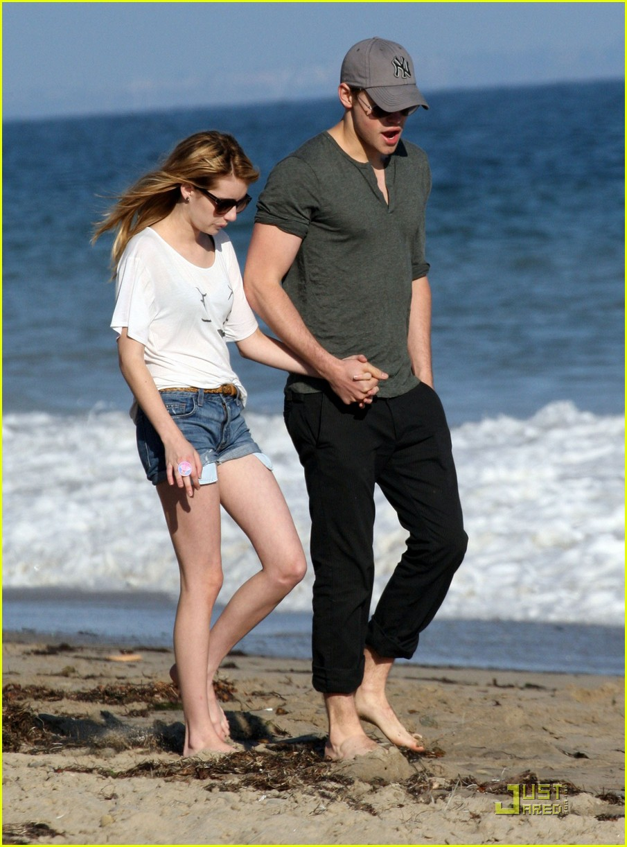 chord overstreet emma roberts holding hands on the beach 072563567