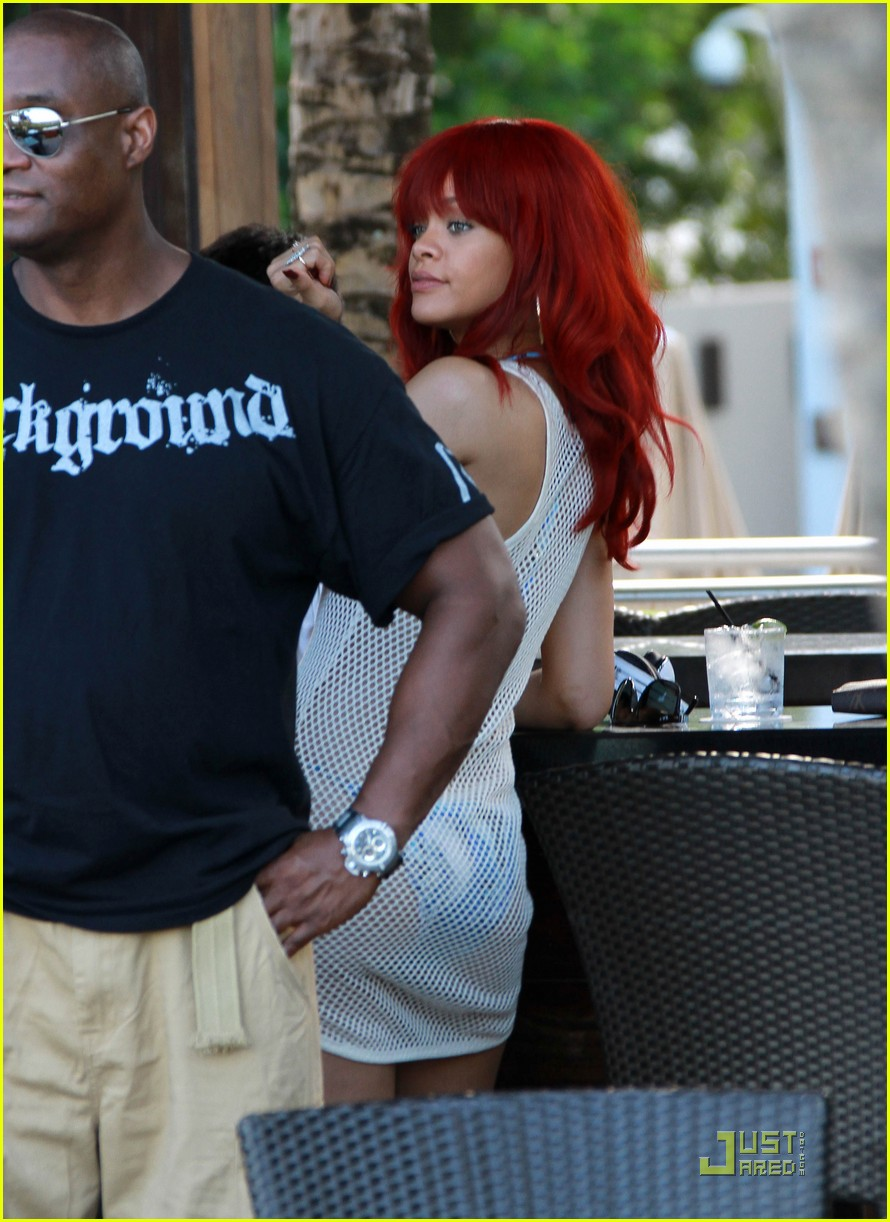 rihanna sheer bikini coverup in miami 052560511