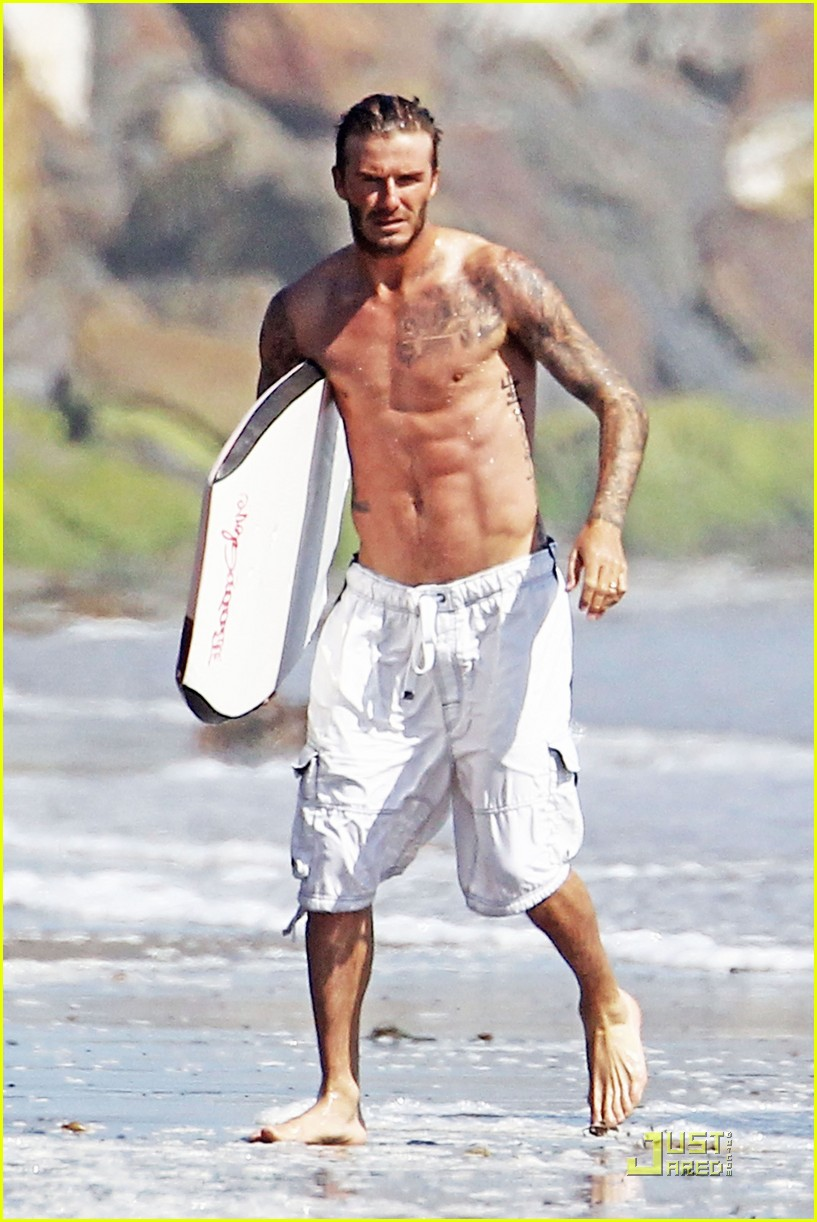 david beckham shirtless beach 01