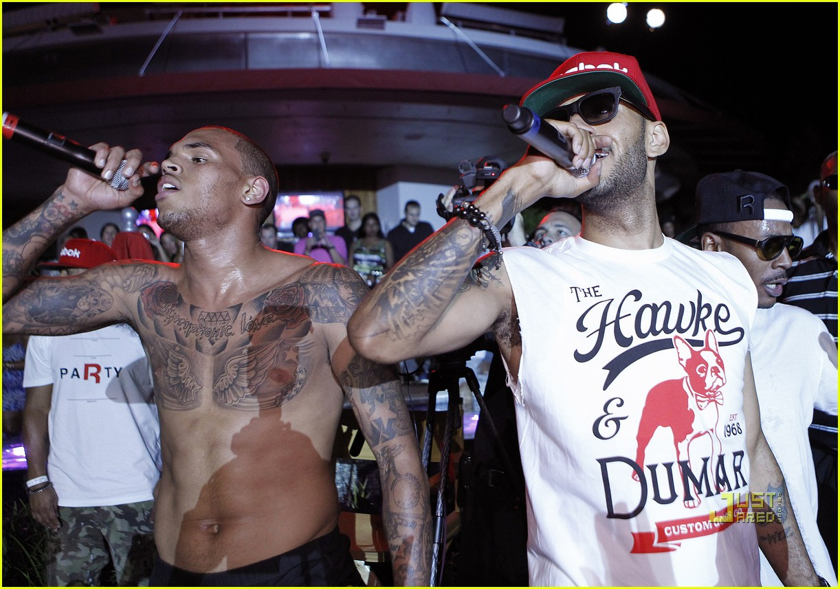 chris brown shirtless reebok party swizz beatz 012572643