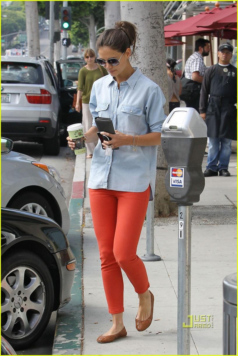 katie holmes orange pants 112572420