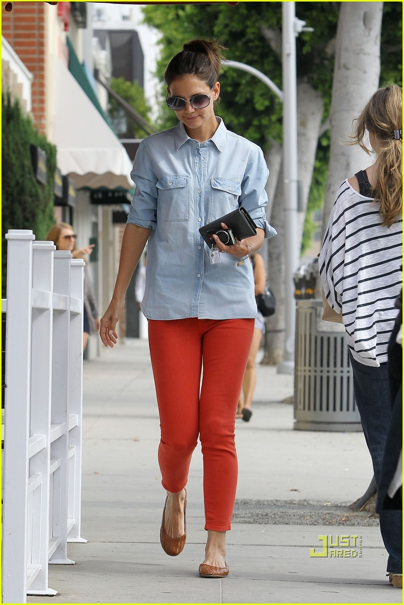 katie holmes orange pants 162572425