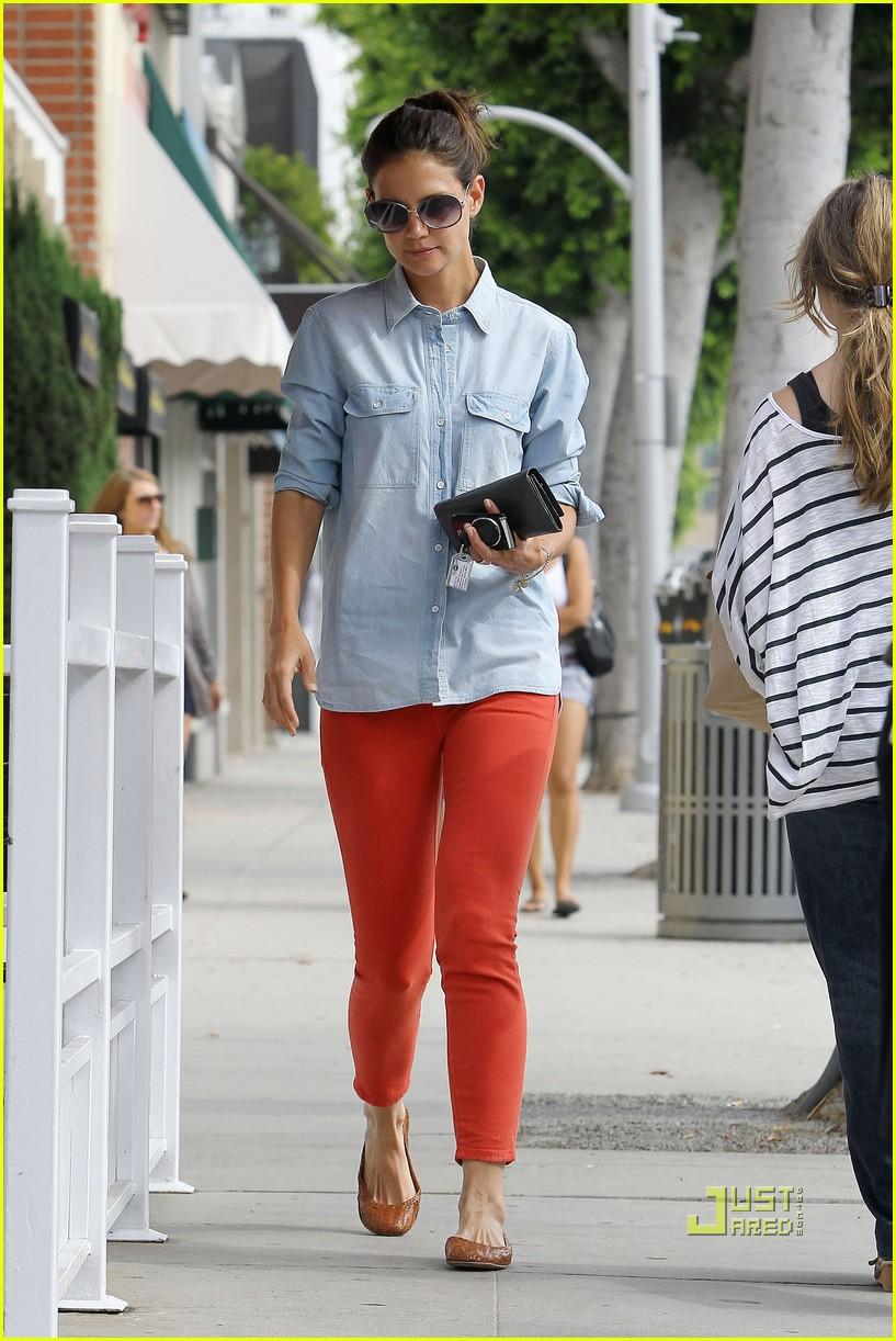 katie holmes orange pants 182572427