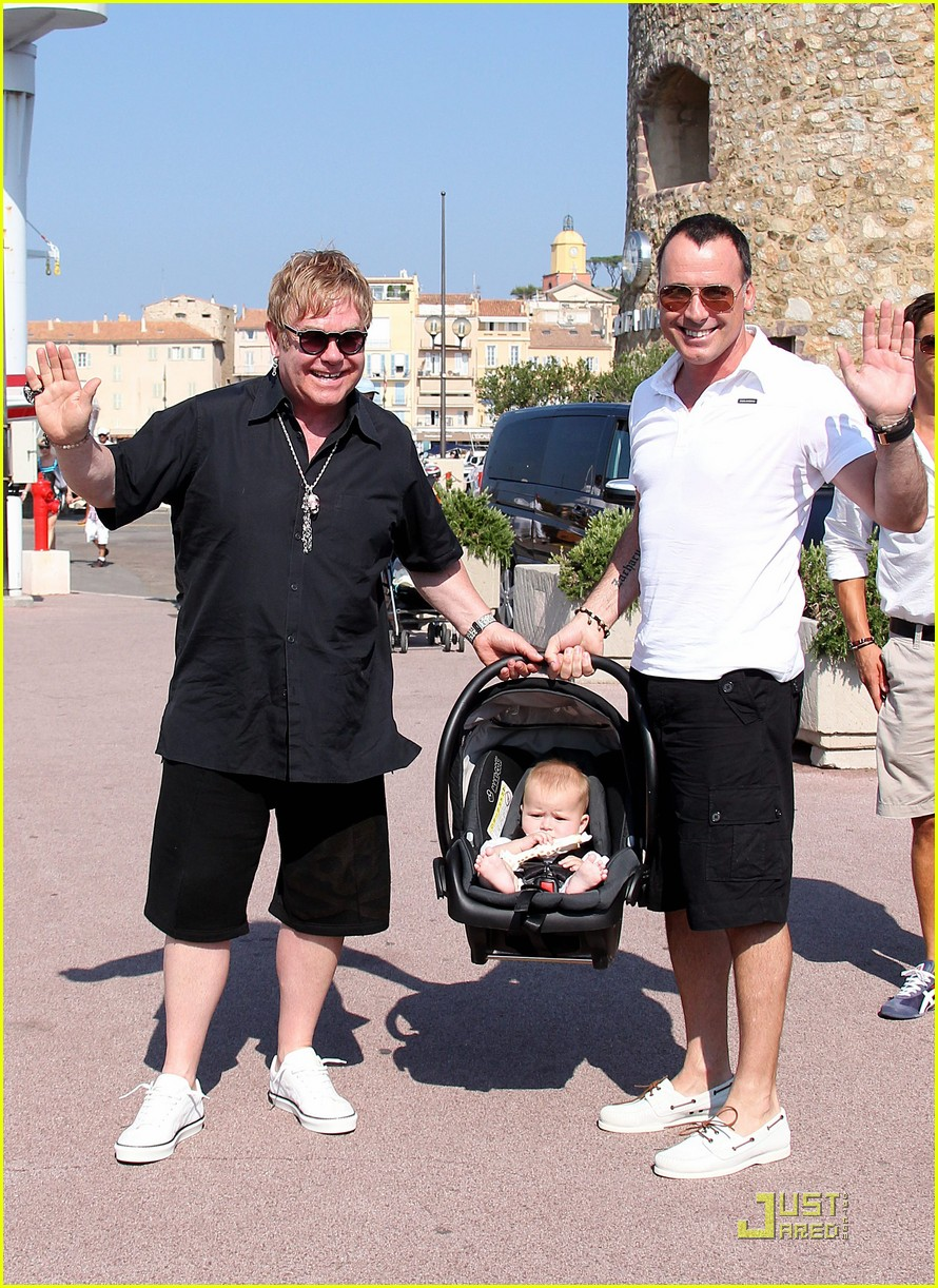 elton john david furnish st tropez with baby zachary 18