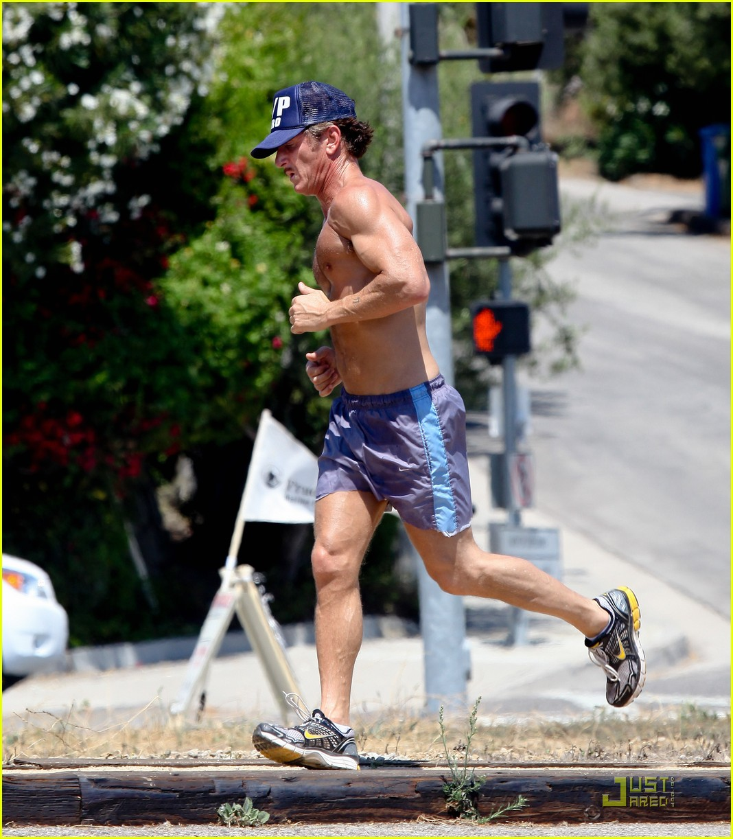 sean penn shirtless jogging with shannon costello 202574297