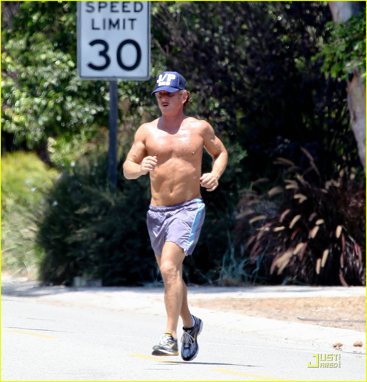 sean penn shirtless jogging with shannon costello 272574304