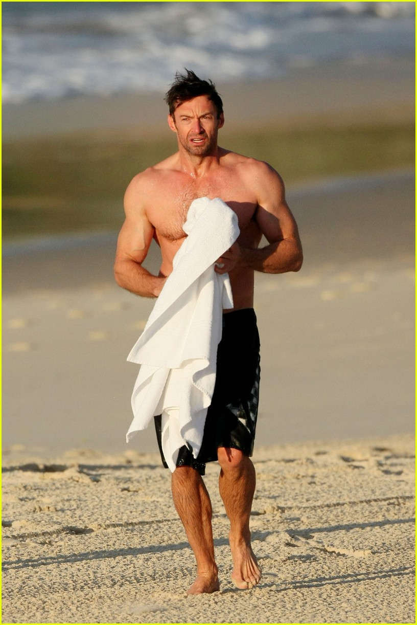hugh jackman shirtless morning dip 03