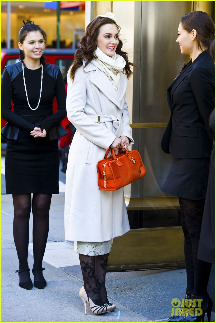 leighton meester white coat gossip set 132594735