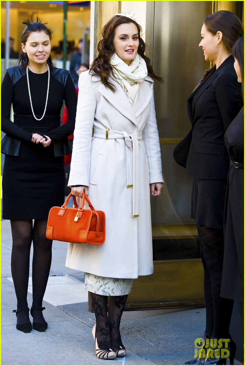 leighton meester white coat gossip set 142594736