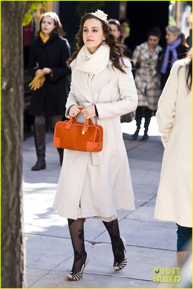 leighton meester white coat gossip set 152594737