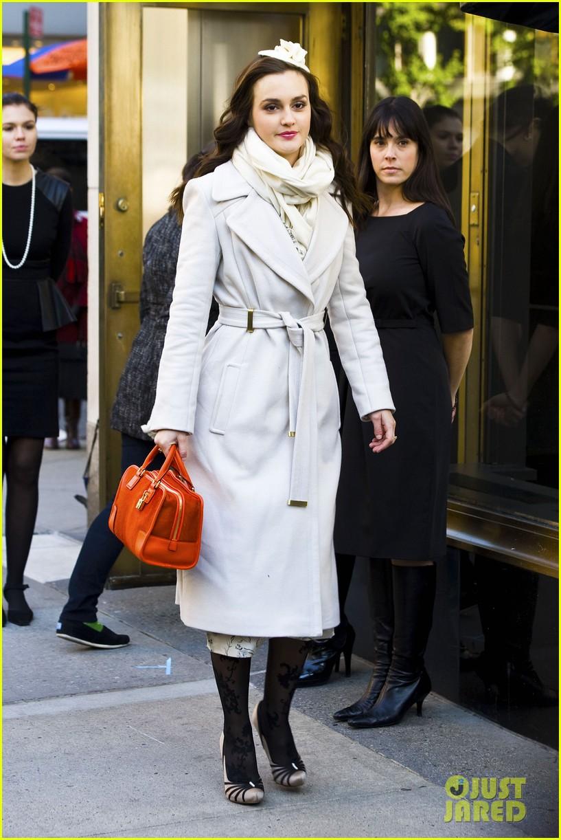 leighton meester white coat gossip set 232594745