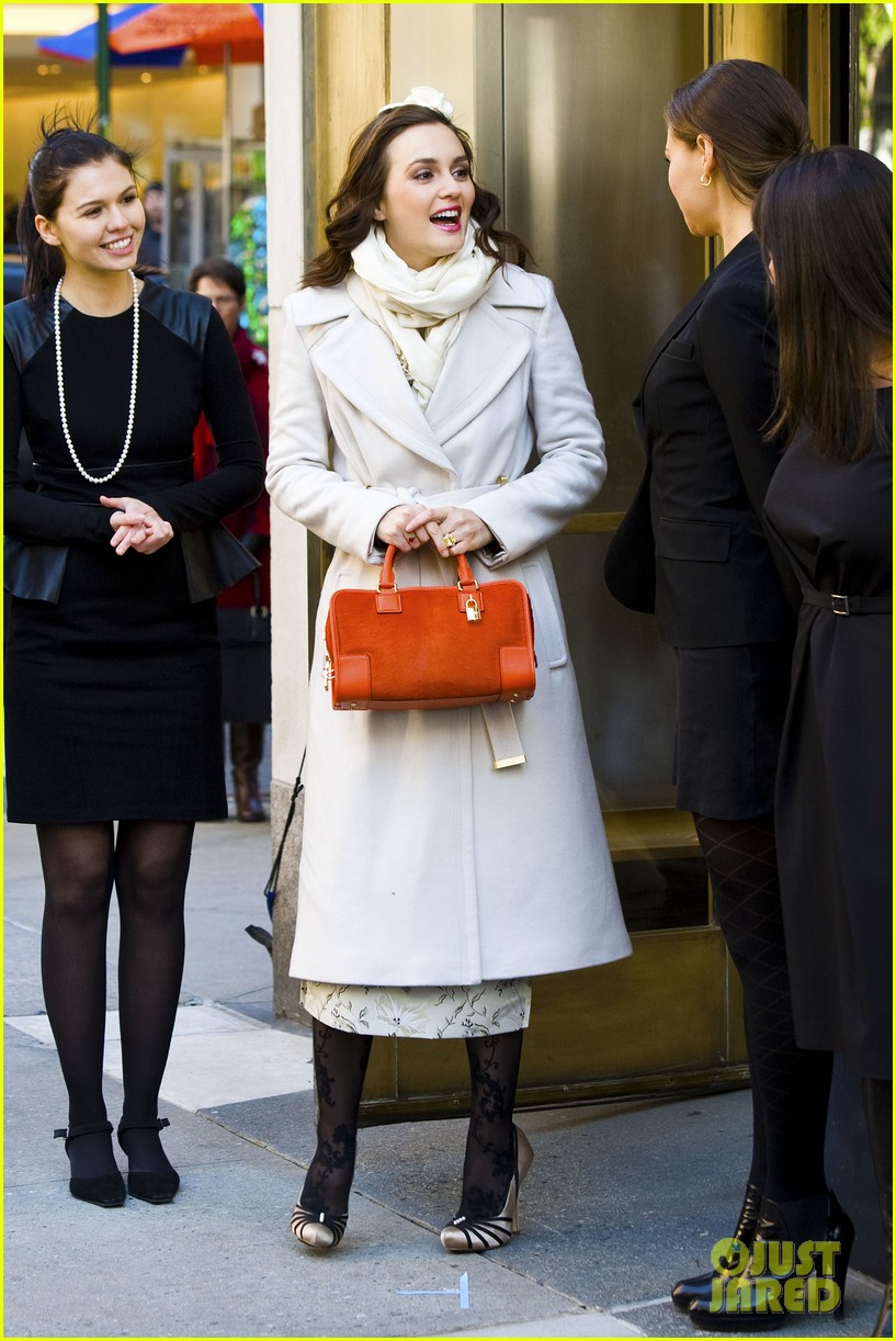 leighton meester white coat gossip set 242594746