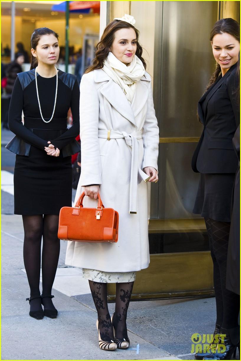 leighton meester white coat gossip set 272594749