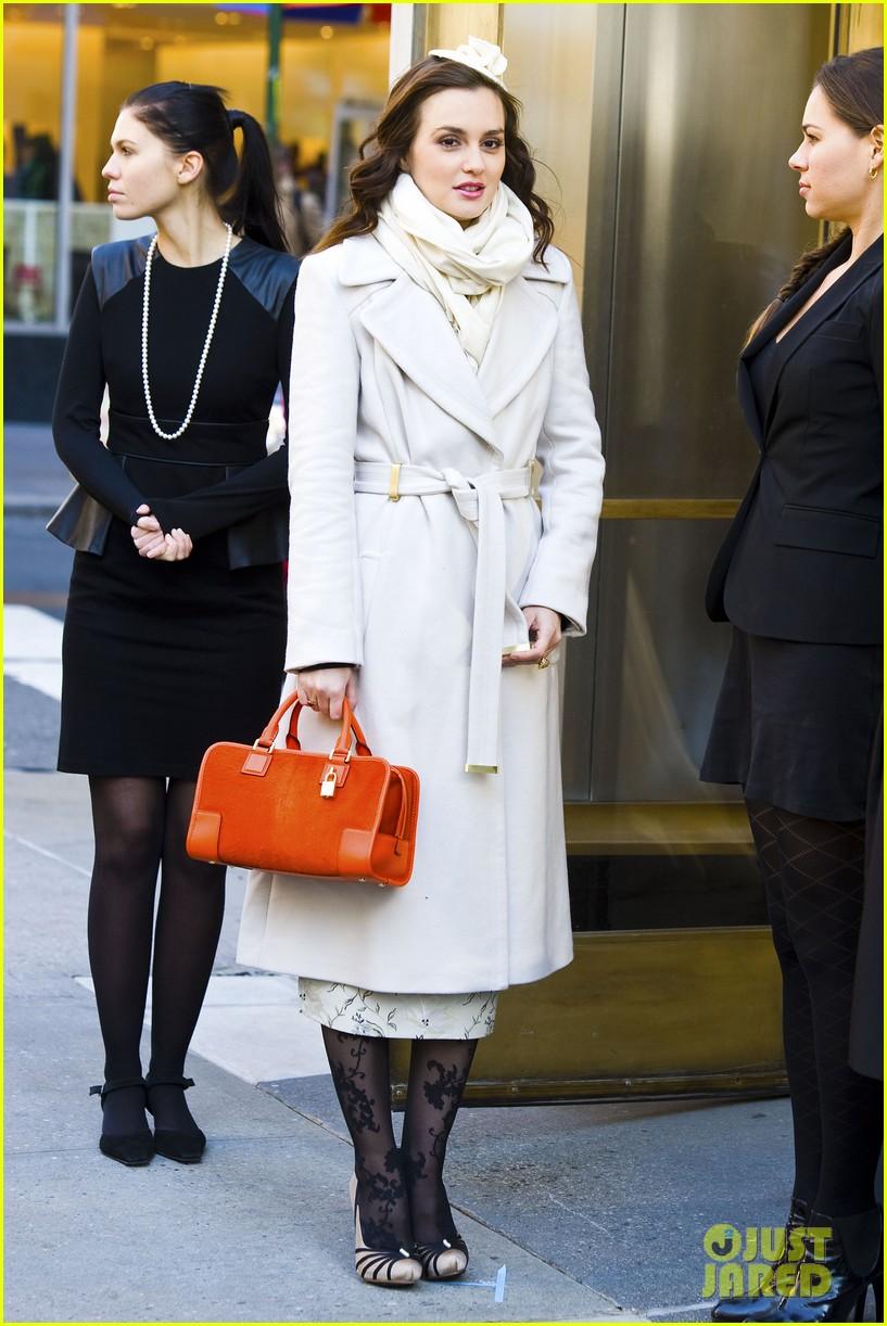 leighton meester white coat gossip set 282594750