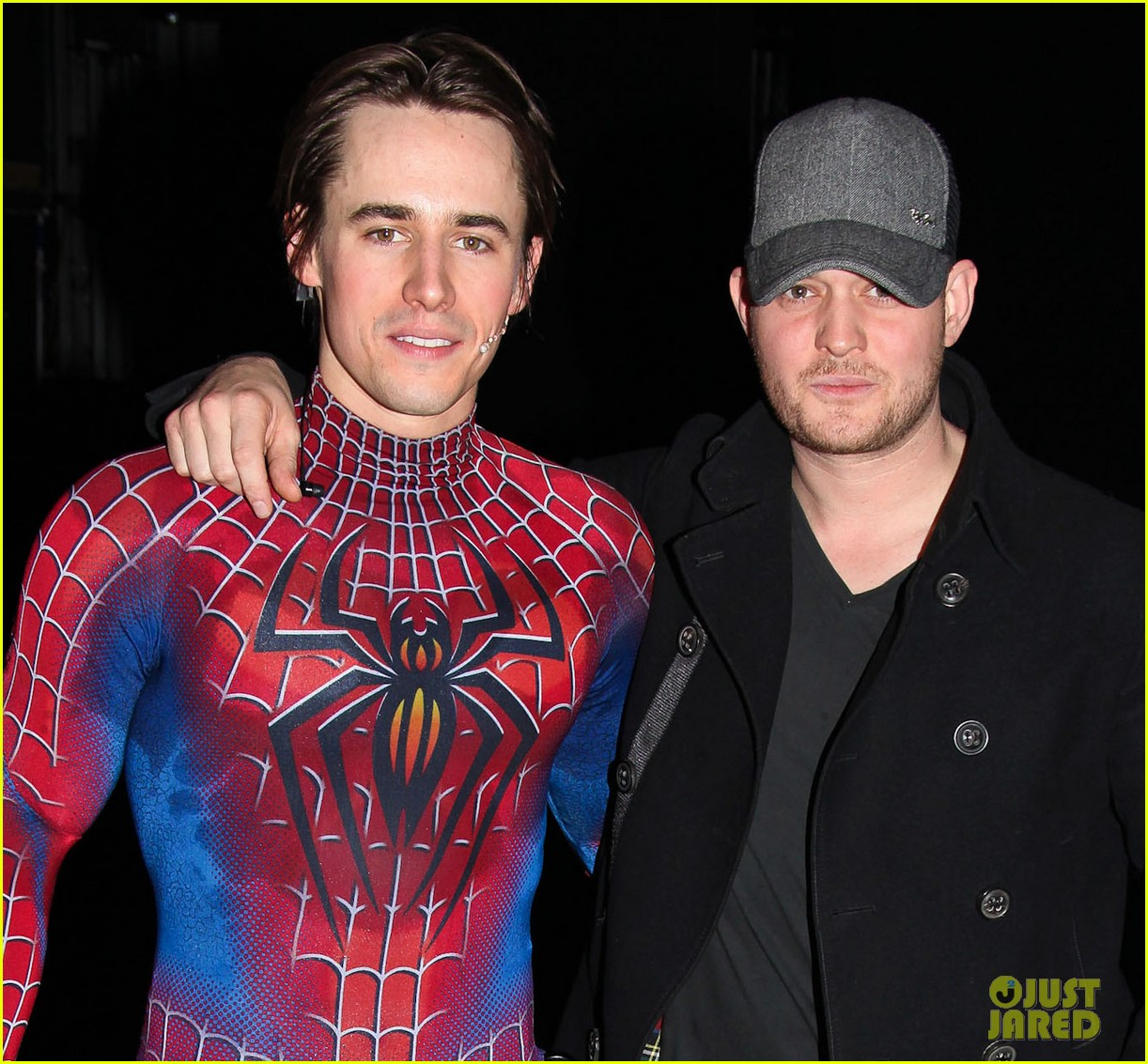 michael buble visits spiderman broadway 04