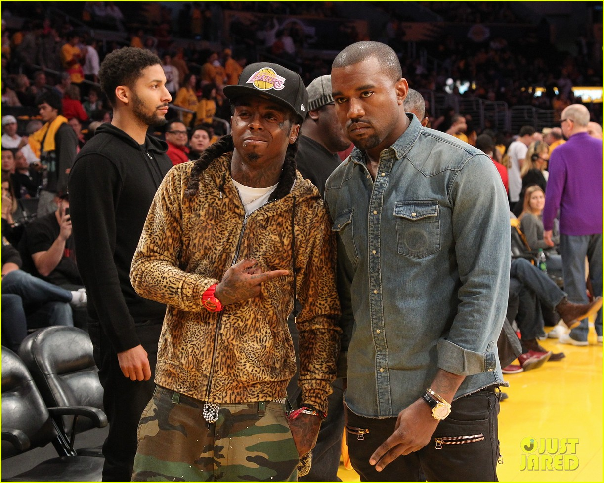 kanye west lakers game with lil wayne 04