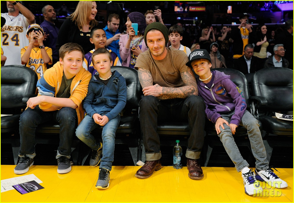david beckham lakers game with the boys 012630406